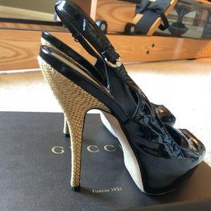 Gucci Black Patent Leather Heels W Cork Heel